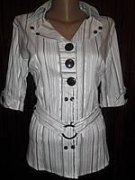 Блузка - рубашка женская стрейчевая  белая большая