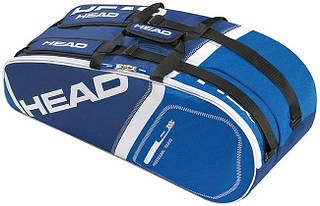 Яркая синяя теннисная сумка-чехол на  6 ракеток 283345 Core 6R Combi  BLBL HEAD