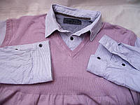 Стильная кофта обманка жилетка с рубашкой NEXT рXL