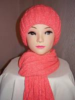Шапка и шарф - комплект  женский, розовый.