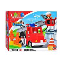 Конструктор Пожарная машина 5150 JDLT, аналог Lego Duplo, пожарный, выдвижная лестница, звук/свет