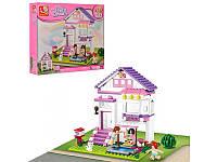 Конструктор Sluban Розовая Мечта M38-B0532 Загородный дом, 3 фигурки, кошка, почтовый ящик, 291 деталь