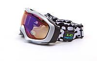 Очки горнолыжные (акрил,пластик,PL,двойные линзы,антифог,цвет линз-прозрачный,оправа серая)