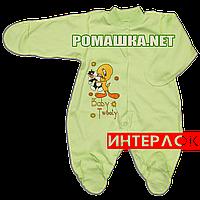 Человечек для новорожденного р. 62 демисезонный ткань ИНТЕРЛОК 100% хлопок ТМ Алекс 3044 Зеленый-3