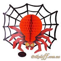 Бумажный паук с паутиной на Хэллоуин