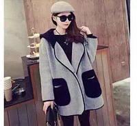 Кашемировое пальто с капюшоном со вставками