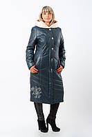 Женское стильное зимнее пальто больших размеров (рр 50-60) с вышивкой (морская волна)