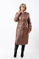 Женское стильное зимнее пальто больших размеров (рр 50-60) с вышивкой (кофе)
