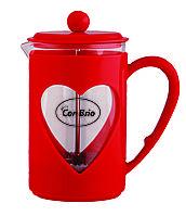 Чайник френч-пресс (заварник) Con Brio СВ-5660 красный, 600 мл