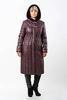Женское стильное стеганное зимнее пальто больших размеров (рр 50-60) с меховой отделкой (бордо)