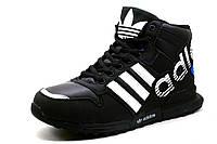 Зимние кроссовки реплика Adidas, на меху, черные, р. 41 42 43 44 45 46, фото 1