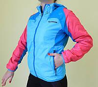 Женская демисезонная ветровка Adidas 912 голубо-розовая код 881А