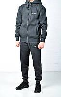Мужской утепленный спортивный костюм Nike Hood серый на молнии найк с капюшоном
