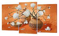 """Модульная картина """"Цветы"""" 160x99 см"""