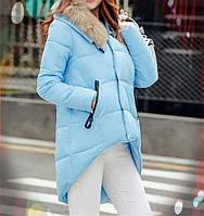Асимметричная куртка с мехом енота
