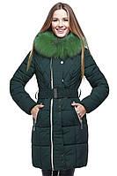 Нарядная курточка с зеленым мехом
