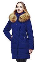 Синее пальто с шикарным мехом енота