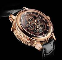 Мужские часы Patek Philippe Sky Moon механические черный циферблат ремешок корпус золото