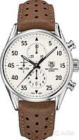 Мужские часыTag Heuer Carrera Space кварцевые коричневый ремешок белый циферблат корпус металл