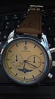 Мужские часы TAG Heuer Carrera Quartz Chronograph кварцевые коричневый ремешок корпус металл