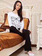 Женская пижама с длинным рукавом. Костюм для дома