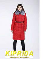 Элегантная зимняя куртка с двойной застежкой и меховым воротником из чернобурки