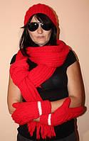 Вязанные шарф и шапочка и рукавички, новое, ручная