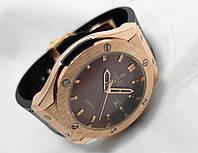 Мужские часы HUBLOT - GENEVE Black, кожаный с каучуком ремешок, цвет коричневый с золотом