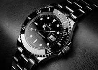 Мужские часы Rolex SUBMARINER механические черный корпус циферблат ремешок