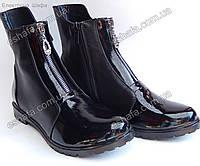 Женские ботинки из натуральной кожи лаковый носок на молнии FW2016/2017