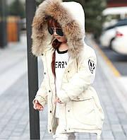 Зимняя куртка на девочку натуральный пуховик