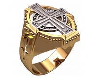 Комбинированный золотой перстень 585* пробы с большим крестом