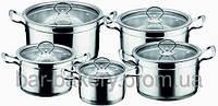 Набор кастрюль стеклянная крышка 5шт высококачественная нержавеющая сталь