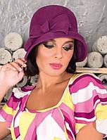 Фетровая  шляпка с складками и бантом