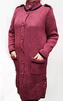 Теплый удлиненный женский кардиган батального размера 591