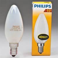 Лампа свеча Philips 40W E14 B35 матовая