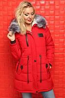Зимняя куртка с мехом на молнии с планочкой на кнопках
