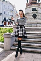 Черно-белое платье с юбкой-плиссе