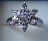 Кольцо с натуральными танзанитами сереб925