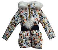 Куртка детская на девочку мех цветы