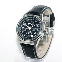 Мужские часы Longines Master Collection кварцевые черный ремешок, черный циферблат, корпус металл