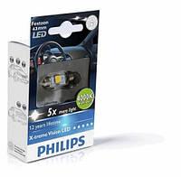 C5W Лампочка освещения салона авто Philips C5W LED 12V 1W 4000K 41MM SV8,5 T10,5X43 / FESTOON VISION
