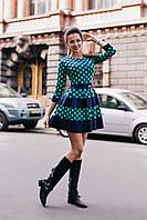 Модное платье в горошек с юбкой-воланом