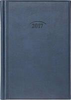 Ежедневник датированный 2017, А5, темно-синий, обложка Torino, Brunnen