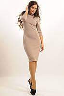 Платье женское приталенного силуэта,ткань джерси+эко-кожа.