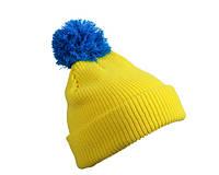 Шапка с помпоном   цвет жёлтый/ярко-синий MB7967