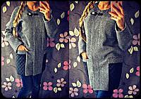 Женское модное твидовое пальто со вставками стеганной плащевки