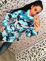 Женская модная демисезонная цветная куртка милитари с поясом и высоким воротником