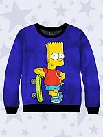 Толстовка детская Барт со скейтом