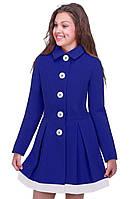 Стильное демисезонное пальто для девочки цвета электрик